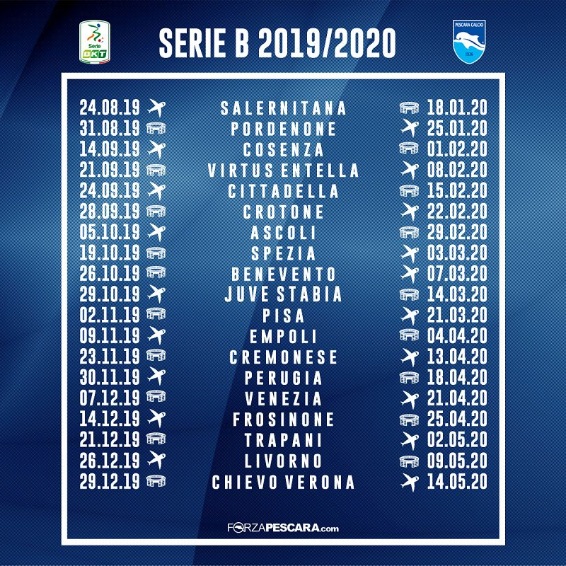 Calendario Partite Pescara.Il Calendario Completo Della Prossima Serie B Del Pescara
